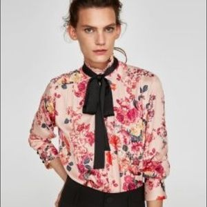 Zara Floral High Neck Blouse